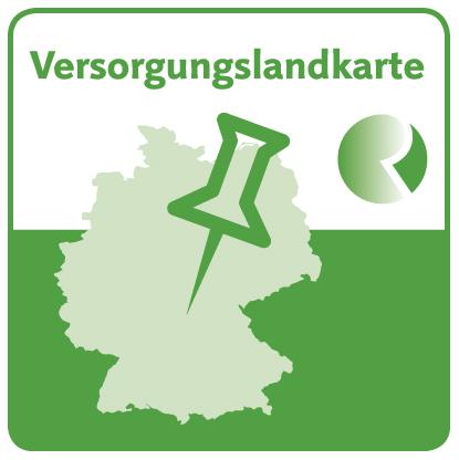Grünes Logo mit einer Karte von Deutschland und einer Stecknadel mit der Überschrift Versorgungslandkarte